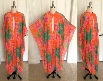 Neon Orange Psychedelic Floral Sheer Coverup // 1960s E Stewart Gown