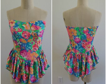 90's Vintage Strapless Neon Floral Print Skirted One Piece Bathing Suit - Size 12 - Made in USA