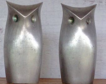 Vintage Midcentury Towle Pewter Owl Salt and Pepper Shakers