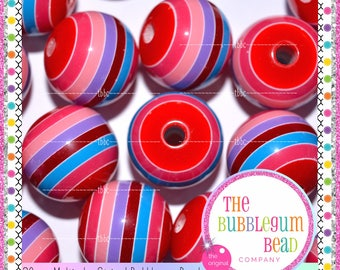 20mm MULTICOLORED STRIPED Bubblegum Bead, Chunky Bead, Gumball Bead, Acrylic Bead, Round Bead, Diy Jewelry Supply, The Bubblegum Bead Co
