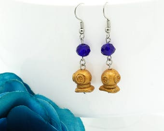 Deep Sea Diver Gold Painted Ceramic Beaded Hook Earrings with Royal Blue Faceted Crystal Beads