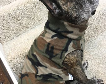 French Bulldog Frenchie  Camo Print Fleece Pullover Jacket with Stand Up Collar