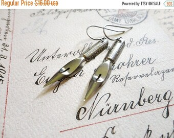 30% OFF Vintage empire pen company calligraphy pen earrings, stainless steel, no. 23, Dearest Darling