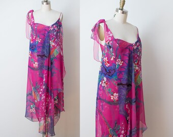 1970s Stephen Burrows Dress / 70s Asymmetrical Tropical Print Chiffon Dress