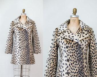 1960s Leopard Print Coat / 60s Faux Fur Coat