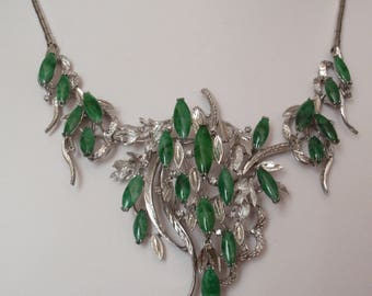 Jade Necklace Sterling Silver Rhodium Plated Dimensional 3D Vintage 043016LV