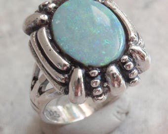 Sterling Opal Ring Silver Natural Gray Base Size 5.5 Vintage Upcycled CW0294