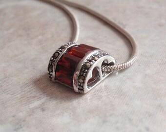 Red CZ Necklace Slide Half Round Baguettes Marcasites Hearts Vintage CW0194