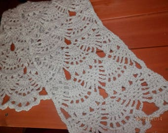 Alpaca Neck Scarf - Lace Pattern - WHITE (#080)