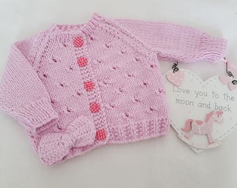 Knitted Baby Clothes - Baby Gift - Hand Knitted Cotton Baby Cardigan - Handmade Baby Girls Pink Baby Sweater - 0-3 Months
