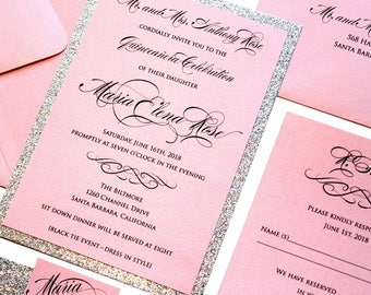 Quinceanera Glitter Invitation Set - Invitation Card, Elegant Invitations, Custom Invitations, Quince Birthday, Quince Party Invite