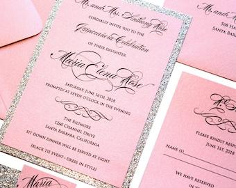 Quinceanera invites etsy quinceanera glitter invitation set invitation card elegant invitations custom invitations quince birthday stopboris Choice Image