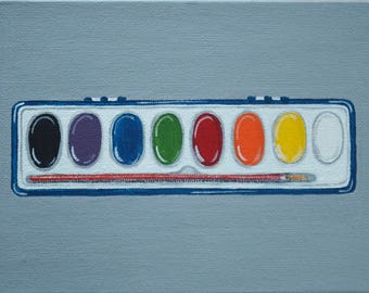 91. WATERCOLOUR PAINT SET from 100 tiny brushstrokes (the childhood memory project) - Original Painting