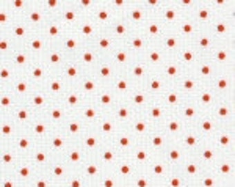 Fabric Finders red dot Pinwale Pique Fabric – red bitty dot on white – Pique print Christmas cotton sewing quilting fabric - choose your cut