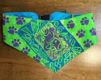 QK3-1705 M Blue Teal Dog Print Quilt-Kerchief