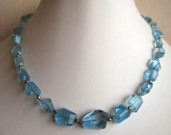 ON SALE 55% Blue Topaz Beads, Swiss Blue Topaz Necklace, Faceted Tumbles, 15mm To 8mm Each, 15 Inch Strand, 28 Pieces Approx