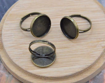 50 finger rings, antique bronze metal rings, adjustable rings, round blanks rings, bezel tray rings, Cabochon tray rings for jewelry 16mm