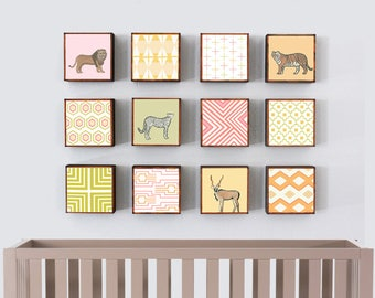 safari nursery wall art, jungle decor, twelve set of 5x5 art blocks- kids room decor-boho jungle art, nursery geometric decor- redtilestudio