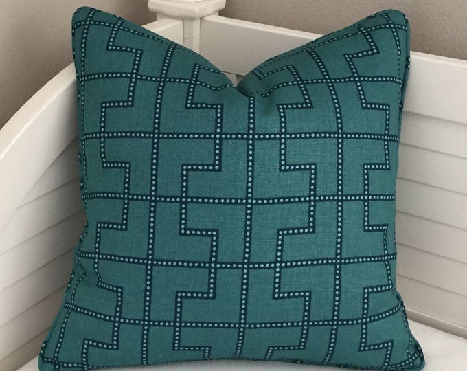 Schumacher Bleecker in Peacock Designer Pillow Cover with Self Welt - Same Fabric on Both Sides - Square, Lumbar and Euro Designer Pillows