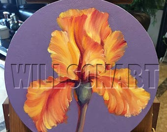 Iris Irises Oil Painting Original Textured Palette Knife Floral Modern Art 8-Inch Round Canvases ( Set of 5) by Willson