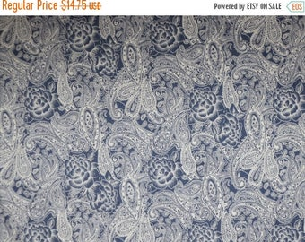 ON SALE White on Blue Denim Paisley and Floral Print Stretch Cotton--By the Yard