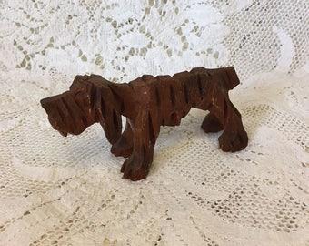 Vintage Wood Hound Dog Figurine - Wooden Hound Dog - Black Forest Folk Art Dog