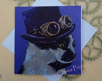 Steampunk Cat Art Greeting Card From my Original Painting