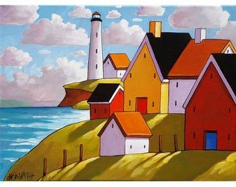 11x14 Lighthouse Coastal Town Landscape Folk Art Print, Scenic Summer Ocean Village, Seaside Home Wall Decor Artwork Gift by Cathy Horvath