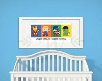Beware!  Superhero Training in Progress!  | Custom Colors | Nursery Art | Nursery Decor | Subway Art | 10x20 | 12x24 (GL000017)