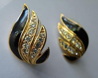 Napier black enamel rhinestone stud earrings.