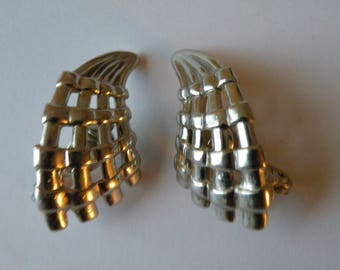 MONET clip on earrings silver plated metal basket weave. Patented.