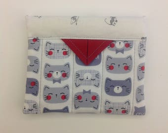"""Cute Cats Quilted Fabric Mini Snap Bag Purse Organizer 4-1/2"""" X 5"""""""