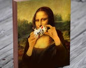 Mona Lisa Shotgunning a Beer- Pabst Blue Ribbon - PBR - Wood Block Art Print
