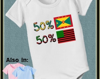 Custom 50 African American 50 Grenada  baby bodysuit - flag - nationality shirt - nationality baby bodysuit, baby shower gift