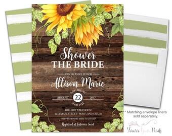 Rustic Bridal Shower Invitations - Floral Bridal Shower Invites - Shower The Bride Invites - Sunflower Invitations - Bridal Invite - Flowers