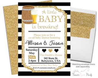Coed Baby Shower Invitation - Baby Is Brewing Invitation - Beer Baby Shower - Couples Baby Shower - Baby Shower Neutral - Baby Invitation -