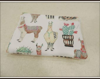 llama print cosmetic bag, cactus pouch, Two pocket purse, padded pocket pouch, padded phone pouch, two pocket cosmetic bag,