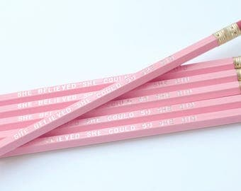 She Believed She Could So She Did Pencils Set of 6 / Pink and Silver Pencils / Personalized Pencils / Gift for Women, Kids / Teacher Gift