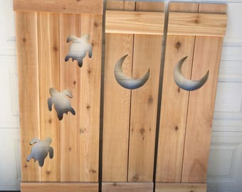 RESERVED For jodizaffiris Custom Shutter Exterior Interior Cedar Wood Painted Beach Cottage Country House Shutter by CastawaysHall