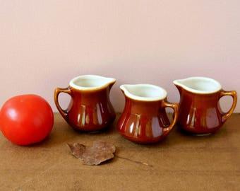 Hall China Brown Stoneware Creamer or Pitcher Collection. Farmhouse Kitchen Decor.