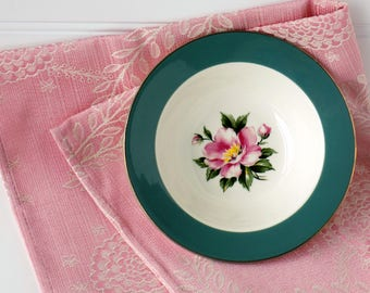 Pink Roses Floral Bowl. Empire Green. Century Service Corporation. Semi Vitreous Dinnerware. Replacement China. Shabby Cottage Style.