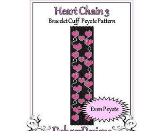 Bead Pattern Peyote(Bracelet Cuff)-Heart Chain 3