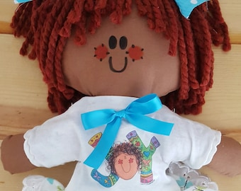 LillieGiggles Brown Baby Rag doll named Joy Doll and Kiddie T-shirt