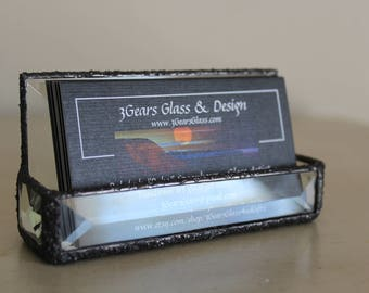 Business card holder, Beveled glass business card holder, glass business card holder, decorative glass business card holder, stained glass