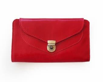 Red leather wallet, red wallet for women, Women's wallet, Handmade wallet