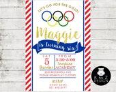 Olympic Gymnastics Birthday Party /Gymmnastics Invitation /Olympic Party Invitation / Printable Invitation / Printed Invitations