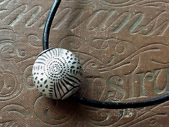 Reversible Necklace, Carved Silver, Leather With Bead, Metalsmith Jewelry