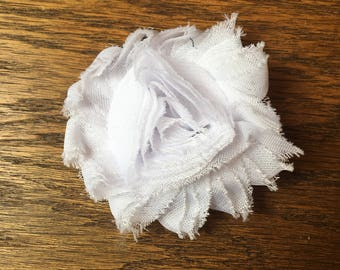 White Fabric Flower Clip