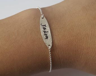 Hand Stamped Name Bracelet, Sterling Silver Ball Chain, Adjustable Bracelet, Dainty Bracelet, Personalized Jewelry, Birthday Gift, Girl Gift