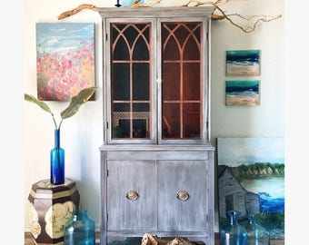 Vintage Weathered Gray Hutch / Driftwood Cabinet